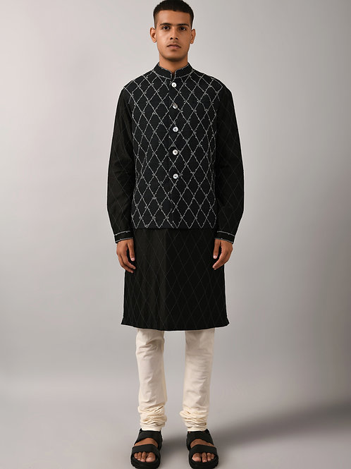 Black Diamond Embroidered Bundi