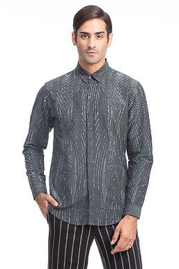 Charcoal Digital Print Silk Shirt