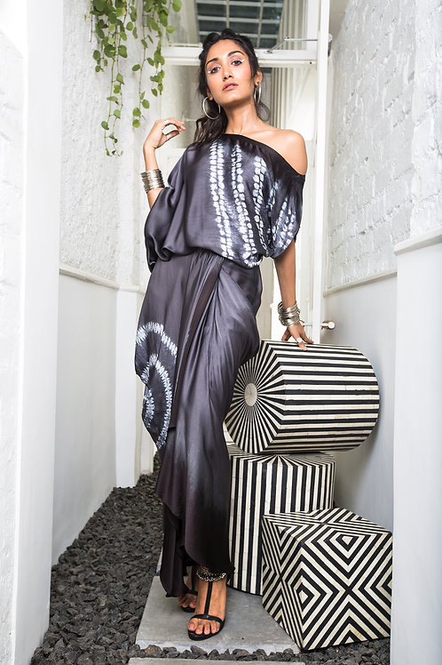 Grey Gather Cowl Skirt and Off Shoulder Top Set