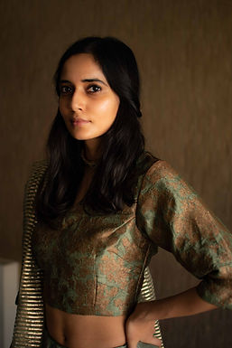Green Brocade Nina Blouse