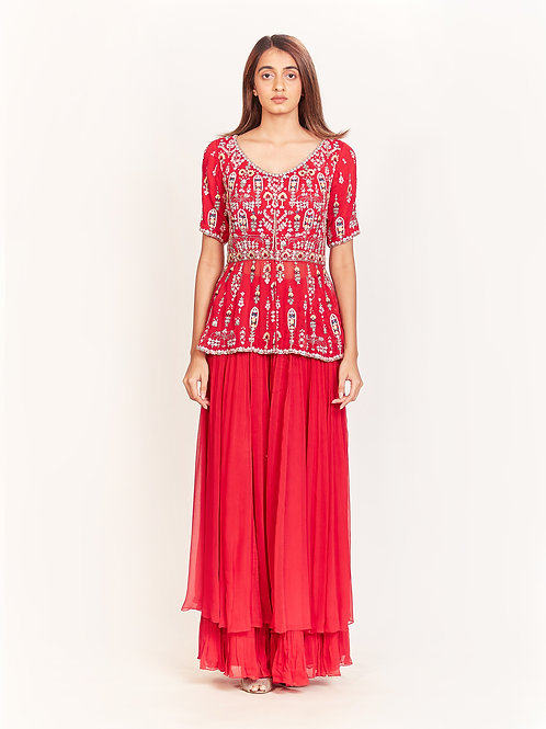 Red Embroidered Peplum Top With Sharara Set