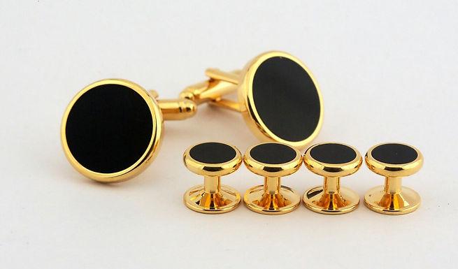 Black and Gold Studs & Cufflink Set
