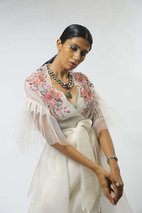 Multicolored Embroidered Long Cape Set