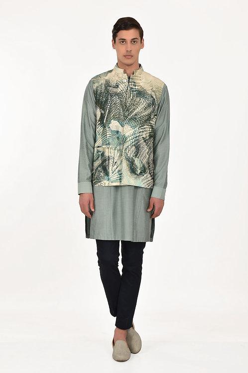 Green Malibu Printed Waist jacket