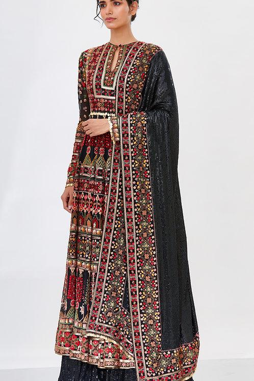 Black Anarkali Set