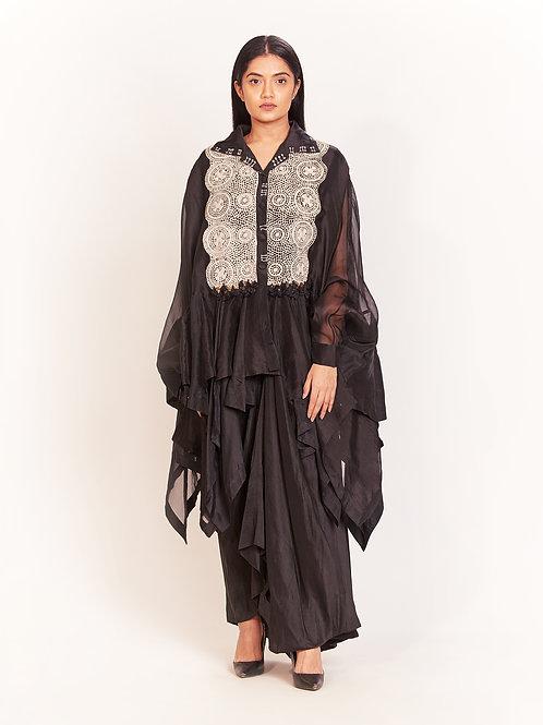 Black Godet Skirt Set