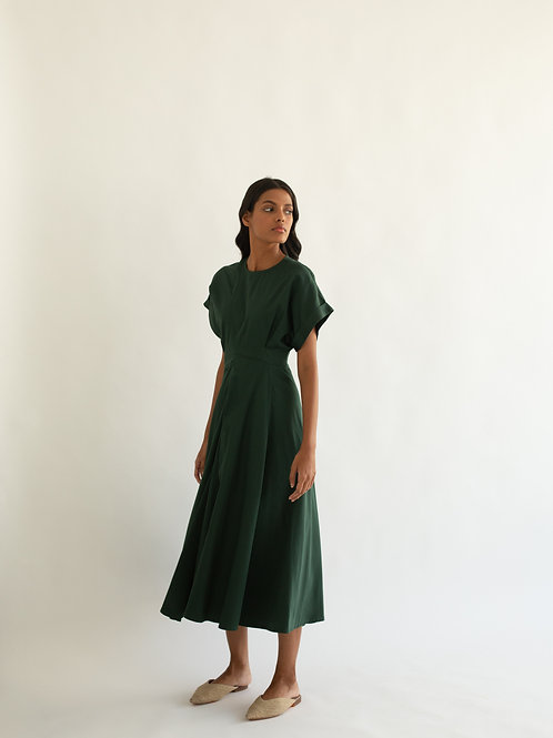 Dark Green Crew Dress