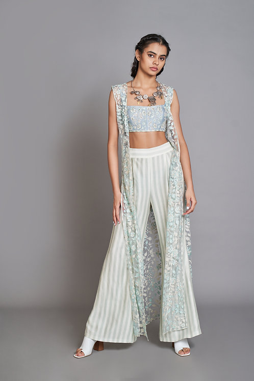 Blue Embroidered Co-Ord Pant Set