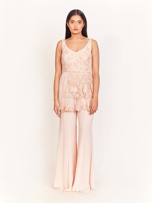Peach Embellished Peplum Top And Bell Pant Set