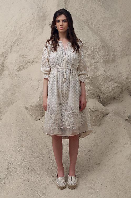 Ivory Floral Line Midi Dress