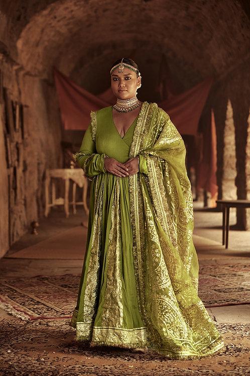 Olive Green Taheera Angrakha Set