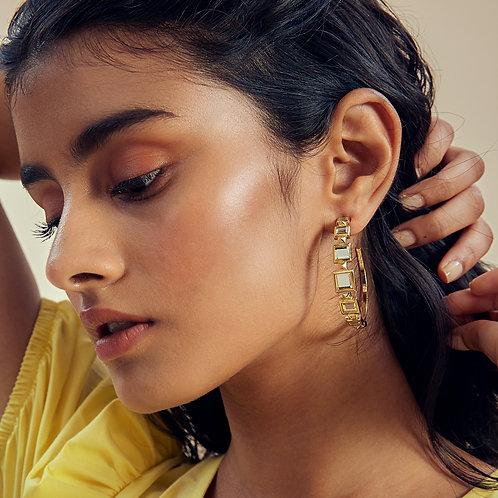 Gold Deco Mirror Hoop Earrings