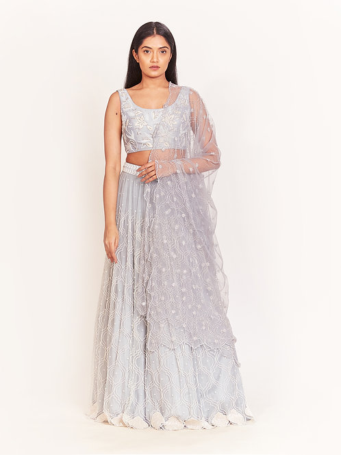 Blue Pearl Embellished Micro Pleated Lehenga Set