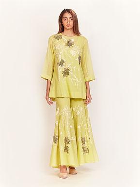 Lime Beaded, Aari Embroidered Top