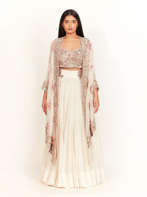 Ivory Zardozi Embroidered Cape Set
