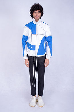 White and Blue Mars Windbreaker