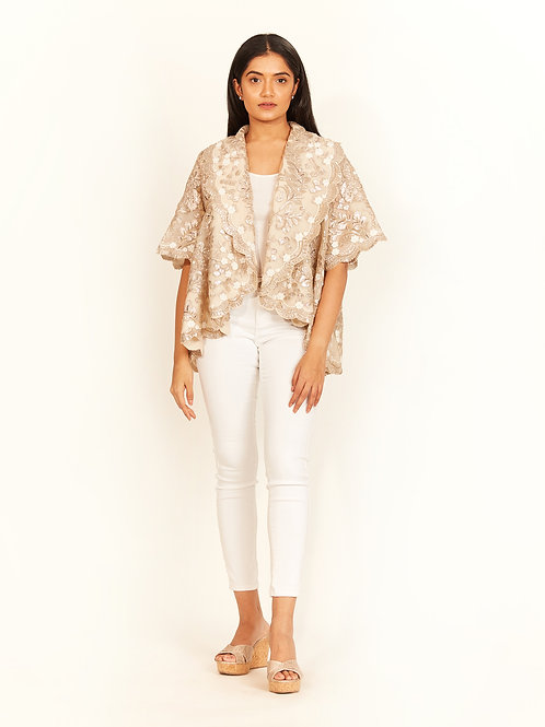 Beige Applique Statement Jacket