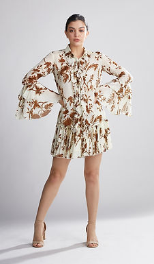 Cream And Brown Floral Frill Skirt