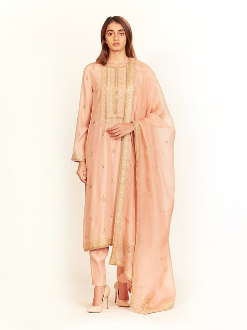 Peach Straight Kurta Set