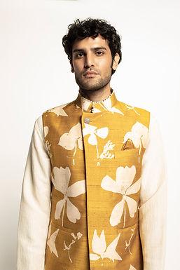 Yellow Dry Flower Print Sadri Set