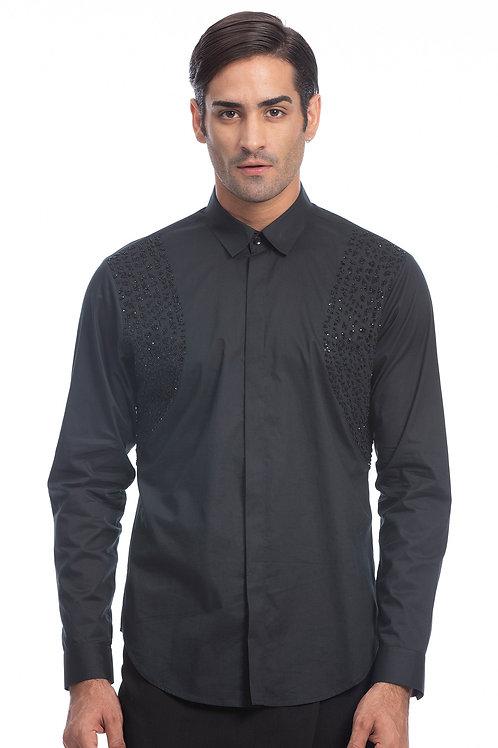 Black Beaded Evening shirt
