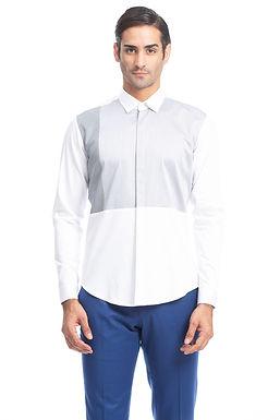 White Color Block Yoke Shirt