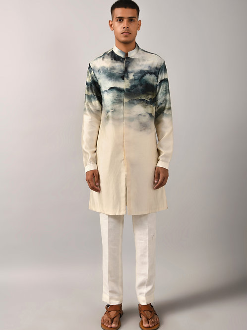 Beige Camouflage Clouds Front Open Kurta