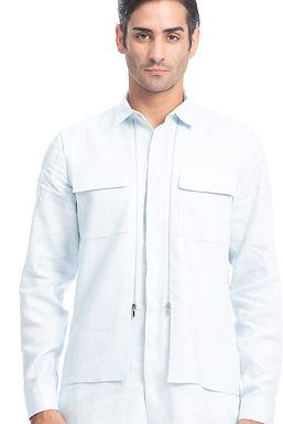 Blue Layered Linen Shirt