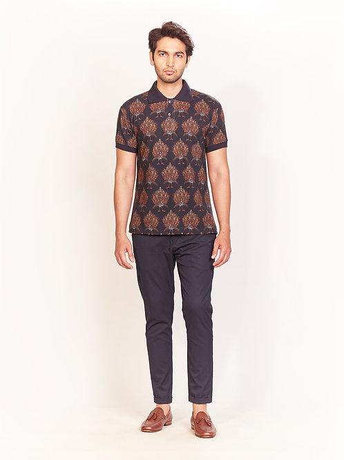 Black Peacock Digital Print Collar T-Shirt