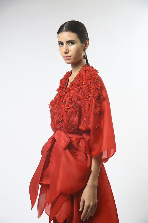 Floral Embroidery Red Cape Set