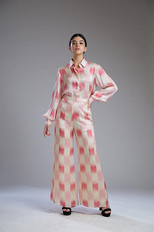 White And Pink Dabu Square Print Shirt