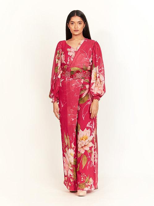 Pink Draped Pant Saree Set