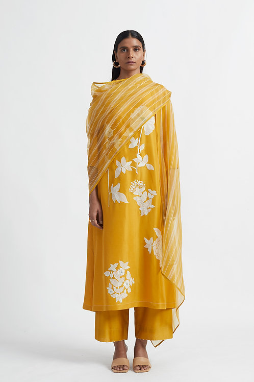 Yellow Patchwork Kurta Set
