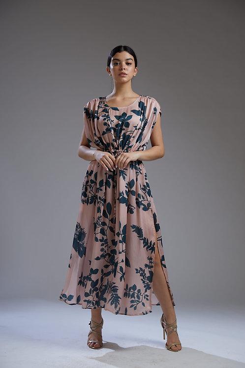 Peach And Teal Floral Printed Kaftan Dress