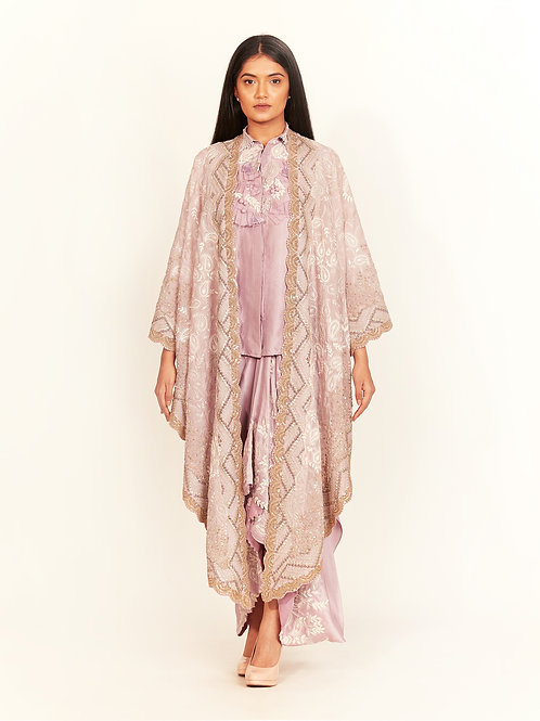 Lilac Embroidered Cape Set