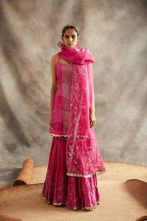Pink Short Kurta And Sharara Set