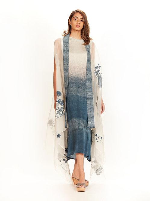 Badami Ombre Printed Tunic & Boro Cape