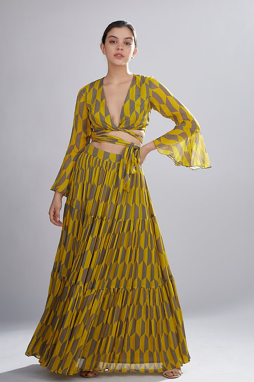 Mustard And Grey Geometric Pleated Skirt
