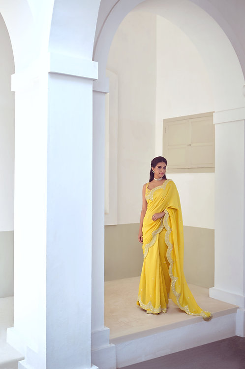 Mustard Embroidered Saree
