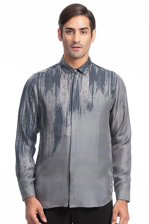 Grey Digital Printed Silk Shirt