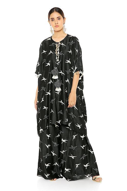 Black Flamingo Patterned Banarsi Silk Kaftaan Set