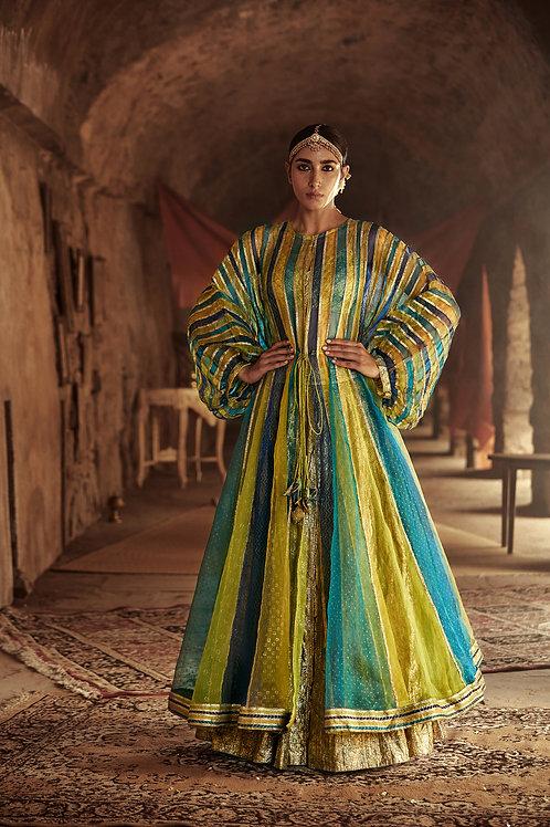 Multicolour And Gold Mahi Kafta Jacket Skirt Set