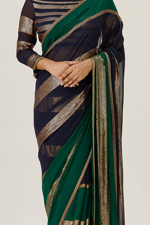 Emerald and Navy Chiffon Saree