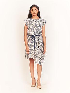 Badami Indigo Crepe Kantha Print Dress