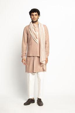 Pink Draped Stole Sadri Set