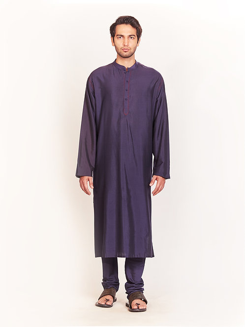 Navy Kurta Set With Stitch Detailing