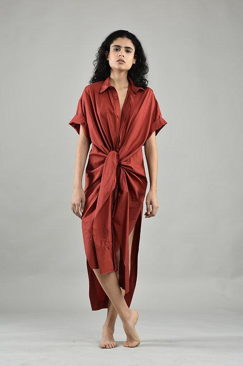 Maroon Rohati Shirt Dress
