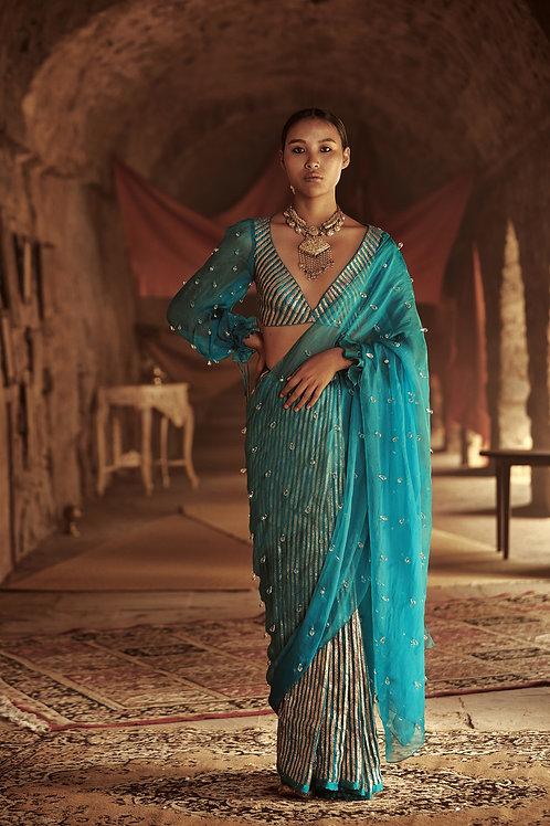 Turquoise Gauhar Saree Set