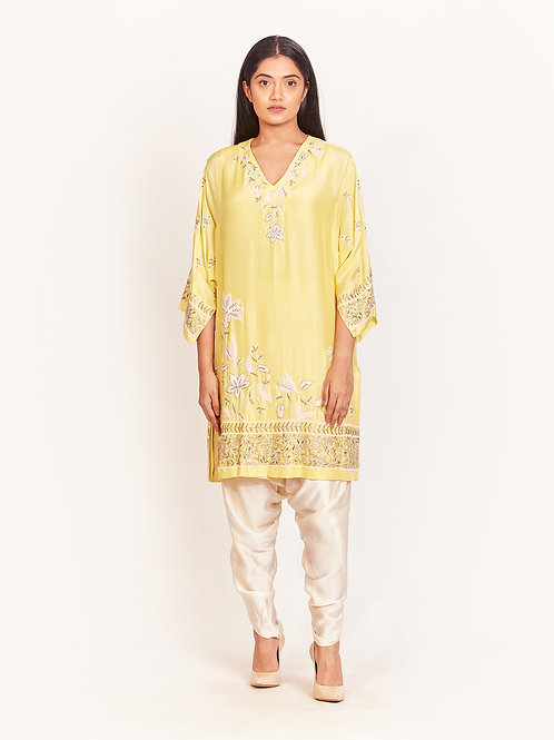 Yellow Embellished Short Kurta And Dhoti Pants Set
