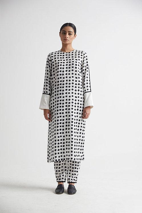 White Printed Kurta Pant Set